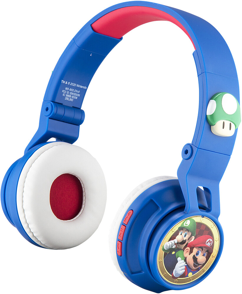 Super Mario Mo-B50.Fxv0 Bt Hdphn Mic Blue/Red - Super Mario MO-B50.fXV0 Bluetooth Wireless Headphones With Built-InMicrophone & Volume Limiting (Blue/Red)