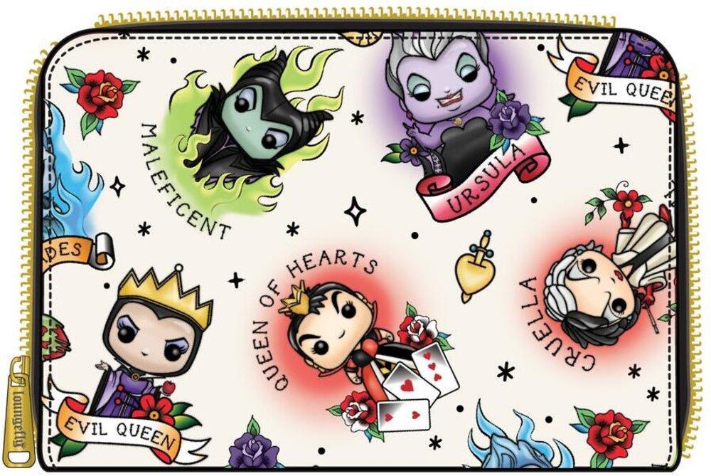 Pop by Loungefly Disney: - Villains Tattoo Aop Zip Around Wallet (Wal)