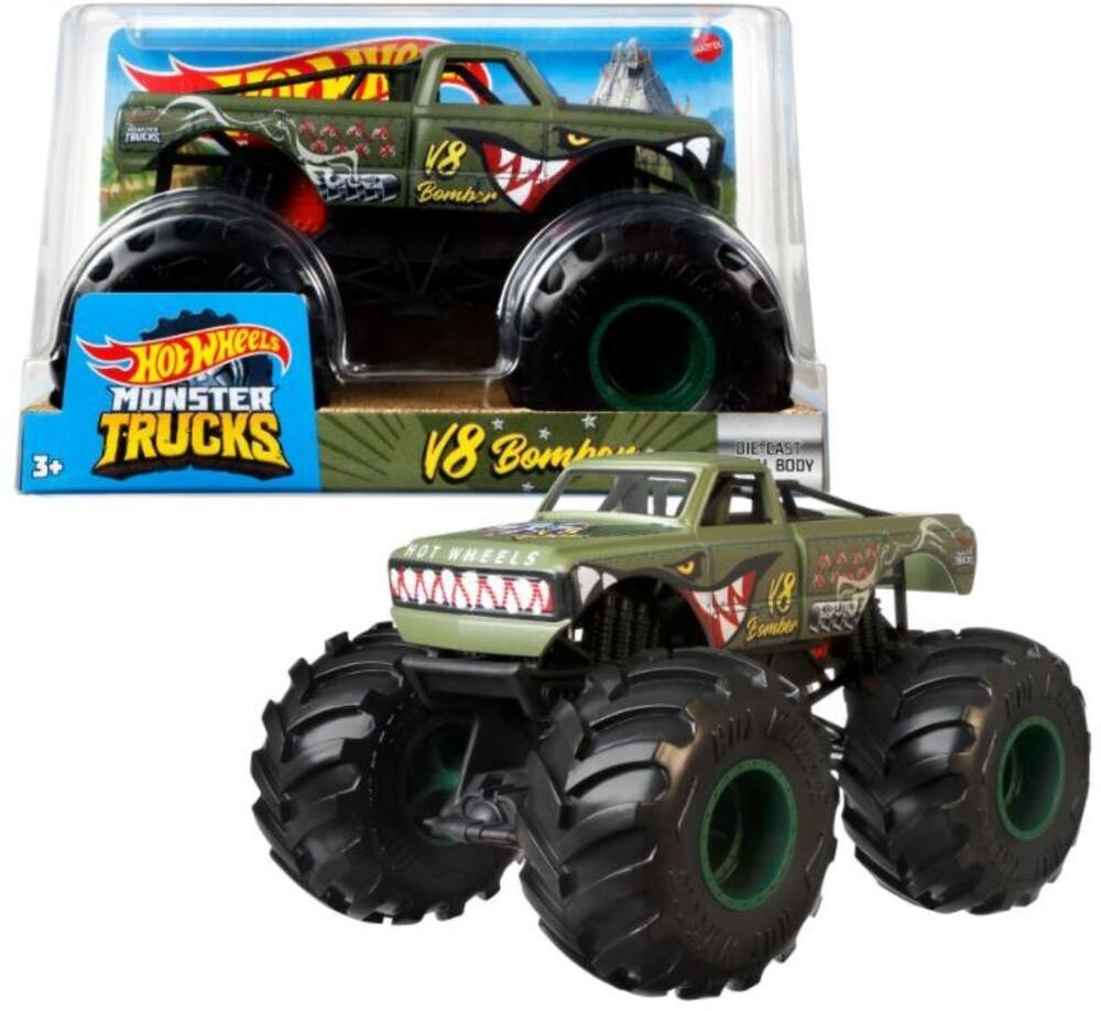 Hot Wheels Monster Truck - Hw Monster Truck 1:24 V8 Bomber Green (Tcar)