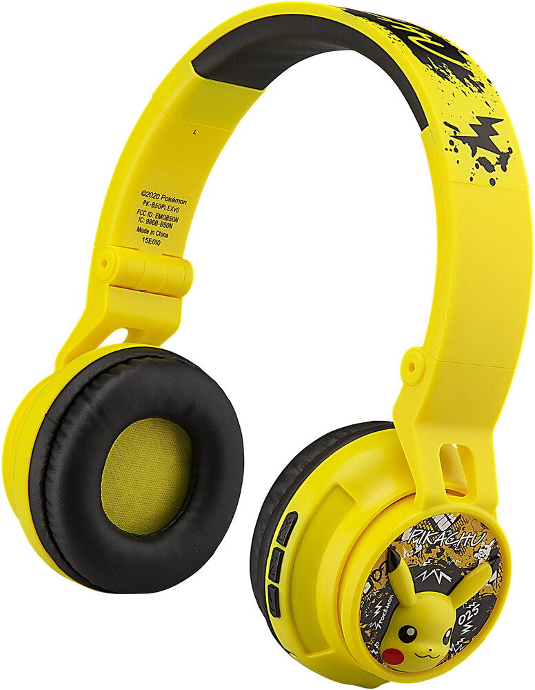Pokemon Pk-B50Pi.Exv0 Pikachu Bt Hdphn Yellow - Pokemon PK-B50PI.EXV0 Pikachu Bluetooth Wireless Youth HeaddphonesWith Volume Limiting Inlcude Microphone (Yellow)