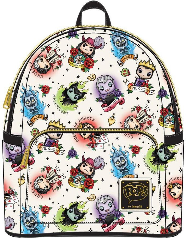 Pop by Loungefly Disney: - Villains Tattoo Aop Mini Backpack (Back)
