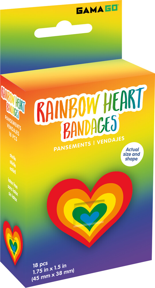 Rainbow Heart 18 Count Bandages - Rainbow Heart 18 Count Bandages