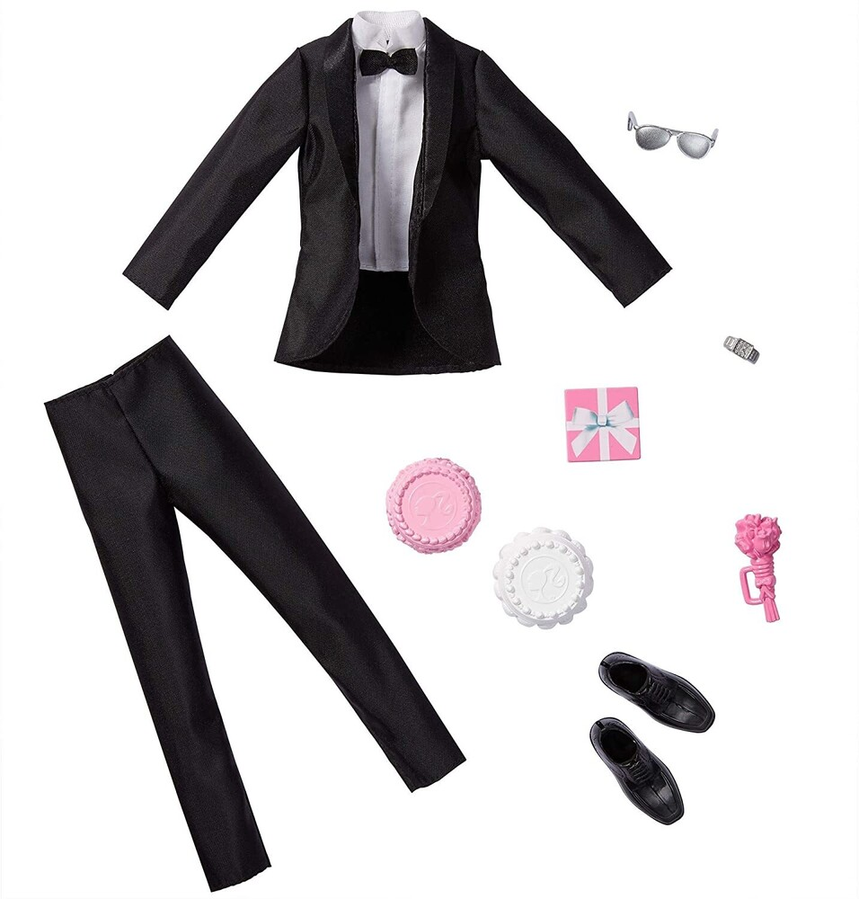 - Mattel - Barbie Ken Fashion 2-Pack, Groom Outfit for Ken Doll with Tuxedo, Shoes, Watch, Gift, Wedding Cake with Tray & Bouquet