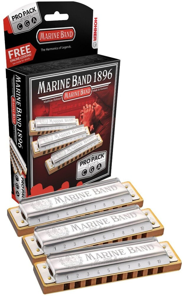 Hohner 3P1896Bx Marine Band 1896 Pro 3P Harmonicas - Hohner 3P1896BX Marine Band 1896 Pro 3 Pack Harmonicas Includes Keysof C, G, A