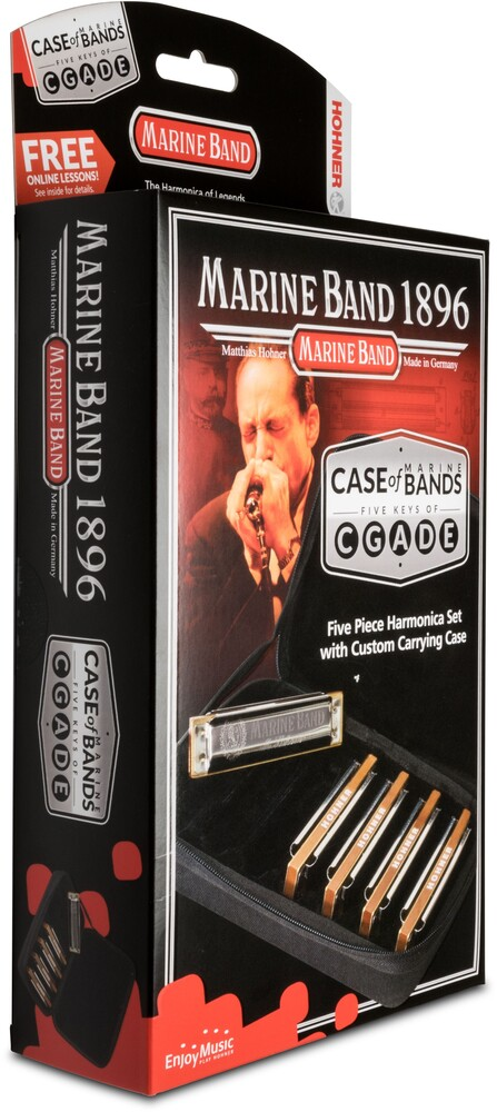 Hohner Mbc5 Marine Band 1896 5Pk Harmonicas Black - Hohner MBC5 Marine Band 1896 5 Pack Harmonicas Includes Keys G, A, C,D & E With Sturdy Neoprene Carrying Case (Black)