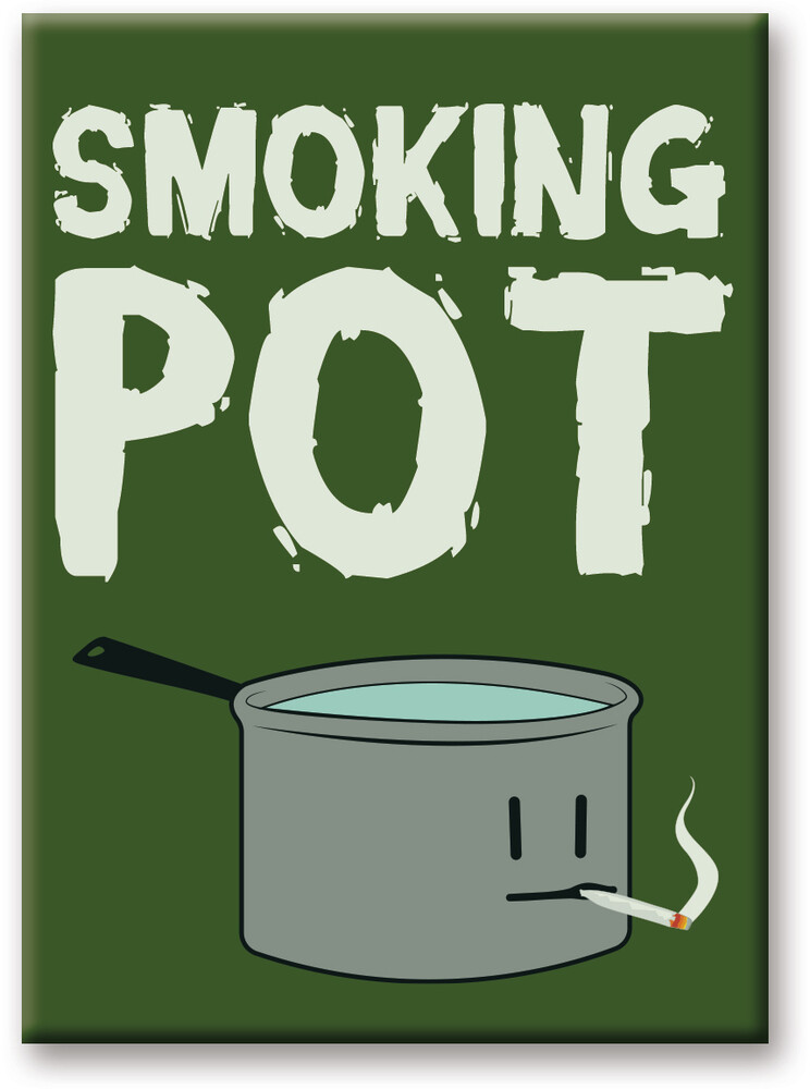 Weed Smoking Pot 2.5 X 3.5 Flat Magnet - Weed Smoking Pot 2.5 X 3.5 Flat Magnet