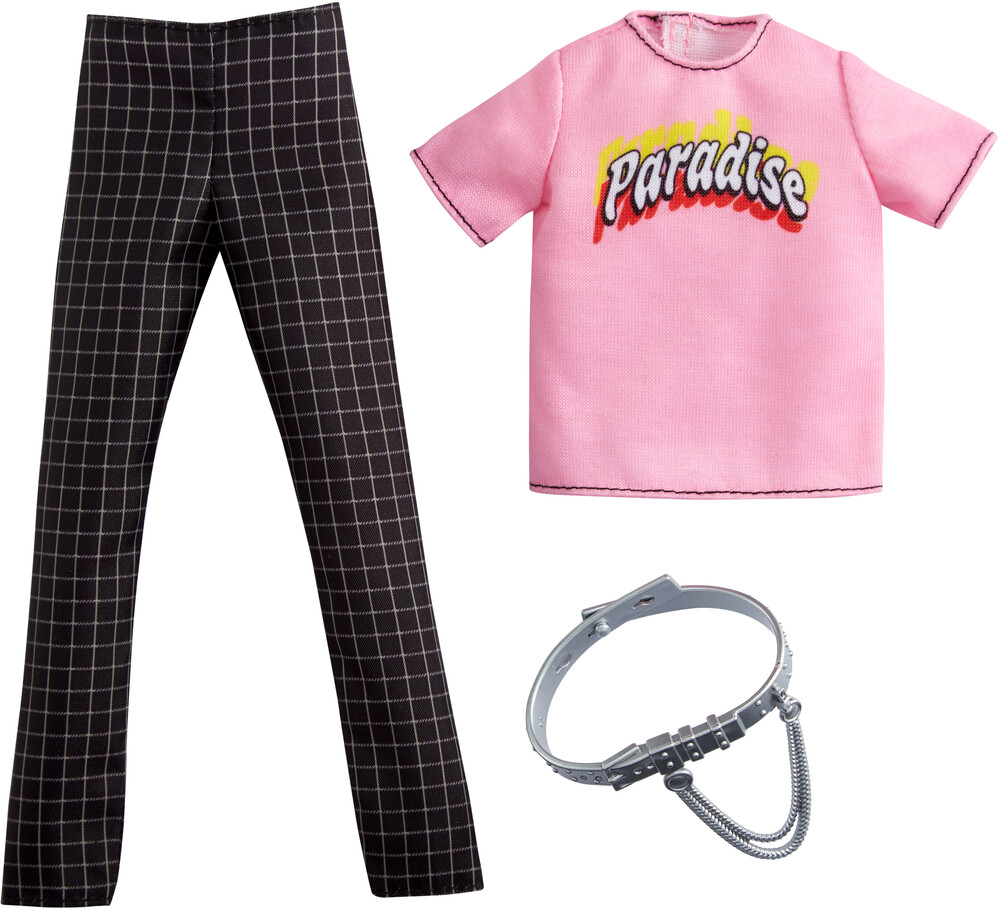- Mattel - Barbie Ken Complete Look Fashion, Pink Paradise, Checkered Pants and Silver belt