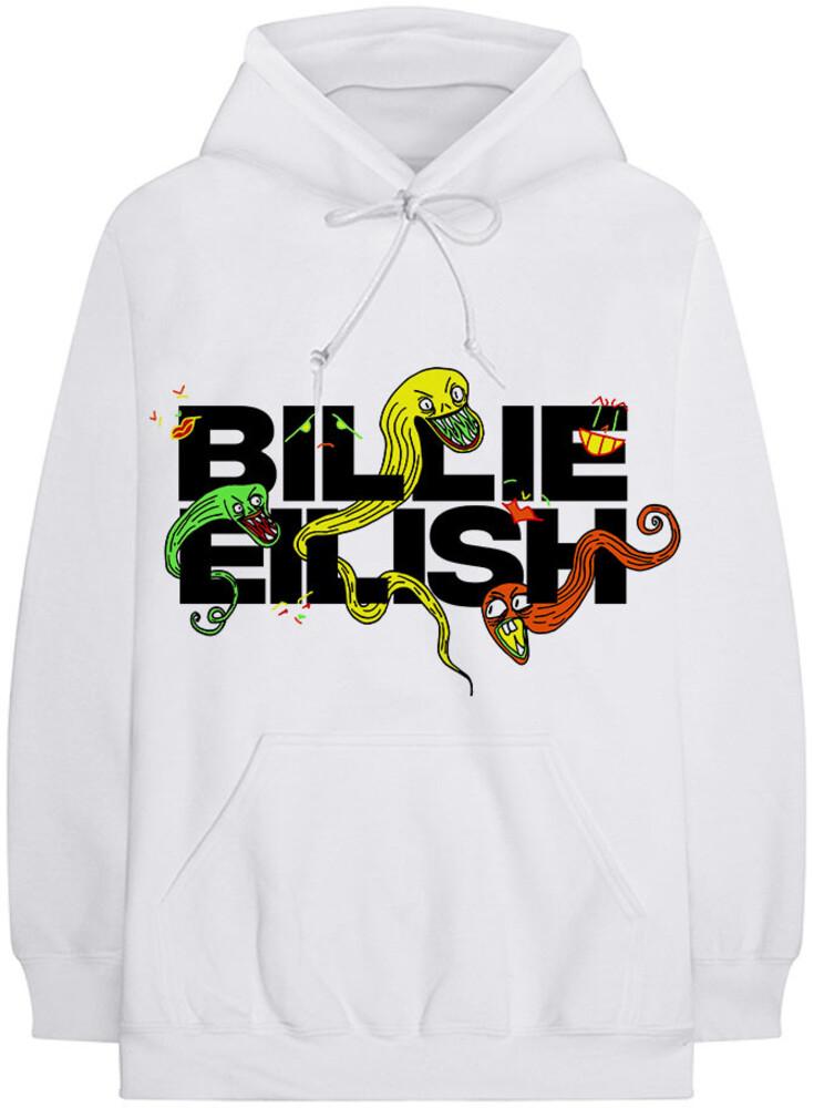 Billie Eilish - Billie Eilish BE Logo White Unisex Hoodie Large