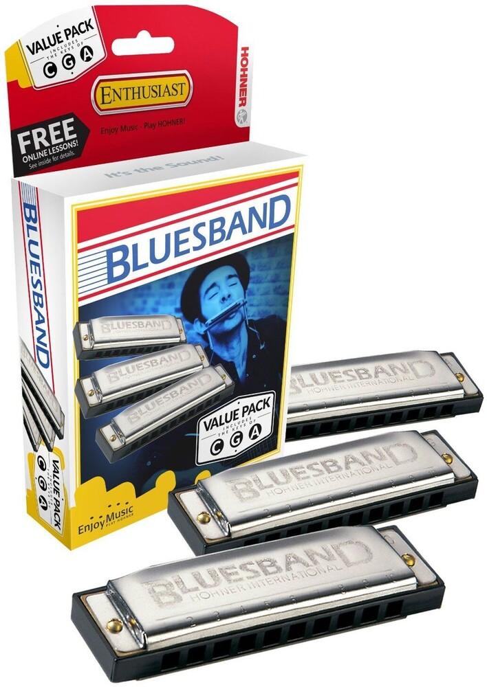 Hohner 3P1501Bx Bluesband Pro 3 Pack Harmonicas - Hohner 3p1501bx Bluesband Pro 3 Pack Harmonicas