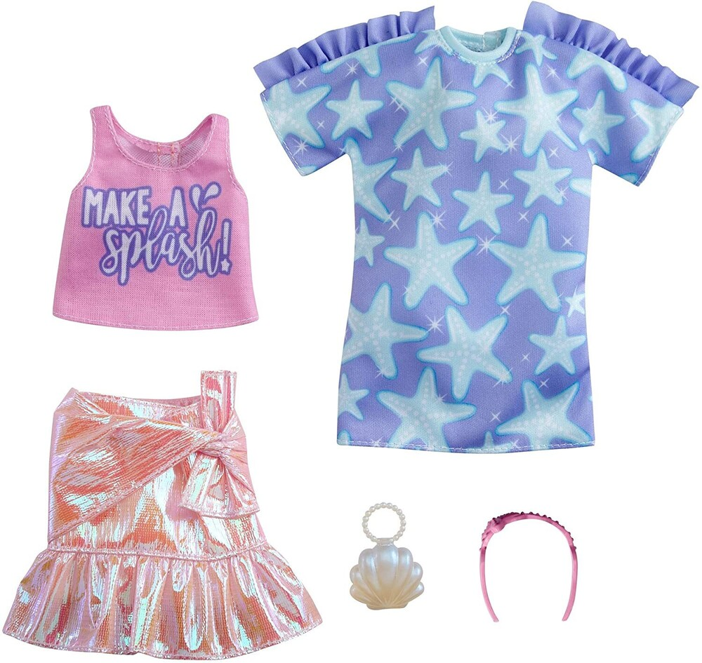 - Mattel - Barbie Fashion 2-Pack, Includes Star-Print Dress, Pink Iridescent Skirt, Graphic Tank & Accessories