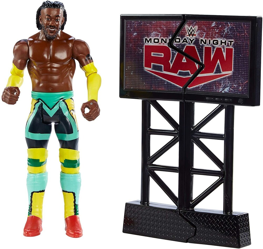 - Mattel Collectible - WWE Wrekkin' Figure Kofi Kingston, Kicking with TV Monitor