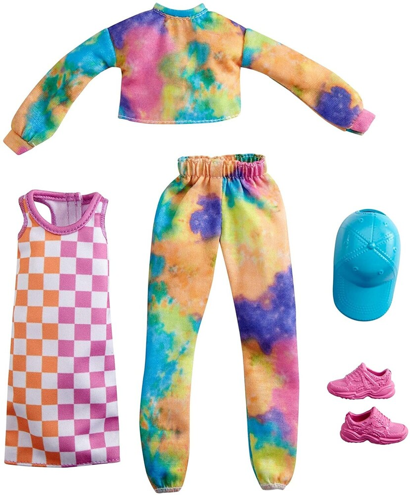 - Mattel - Barbie Fashion 2-Pack, Includes Tie-Dye Joggers & Sweatshirt, Checked Dress, Blue Cap & Pink Sneakers