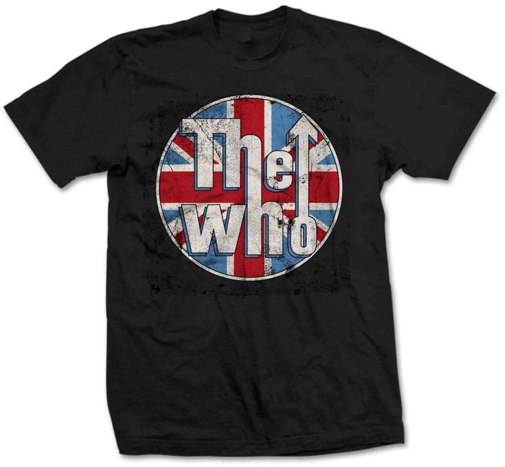 - Who Distressed Union Jack Logo Ss Tee M (Blk)