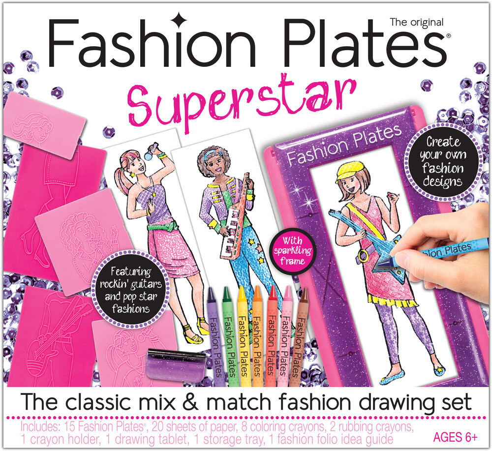 Fashion Plates Superstar Fashion Drawing Set - The Original Fashion Plates Superstar Classic Mix And Match Fashion Drawing Set
