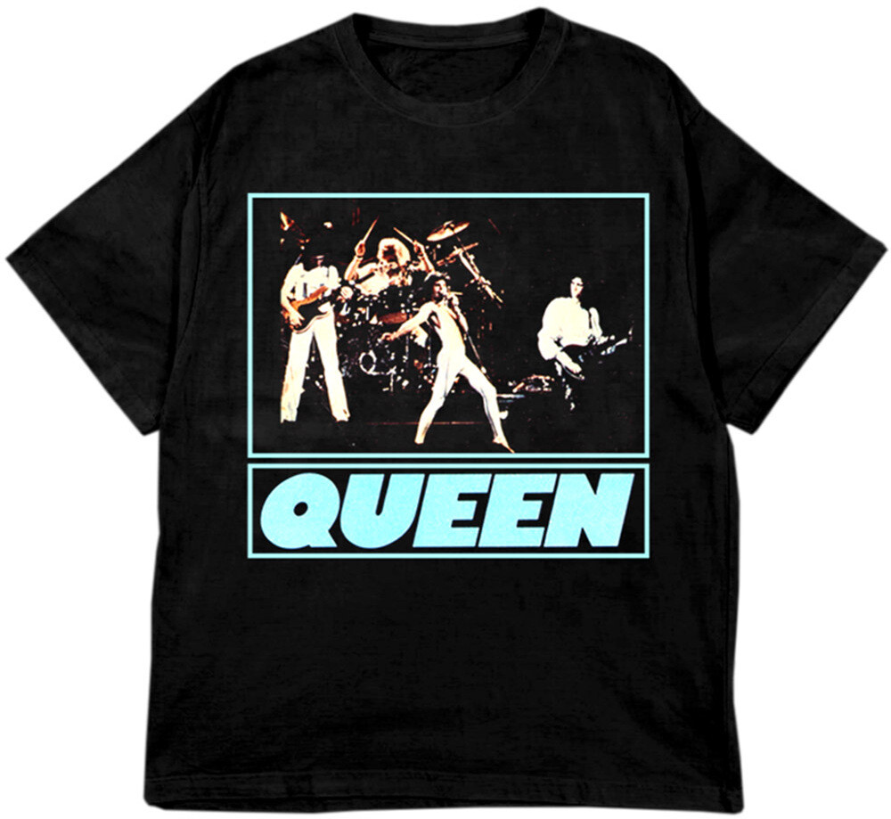 Queen First E.P. 1977 Artwork Black Ss Tee 2Xl - Queen first E.P. 1977 Artwork Photo Black Unisex Short Sleeve T-shirt2XL