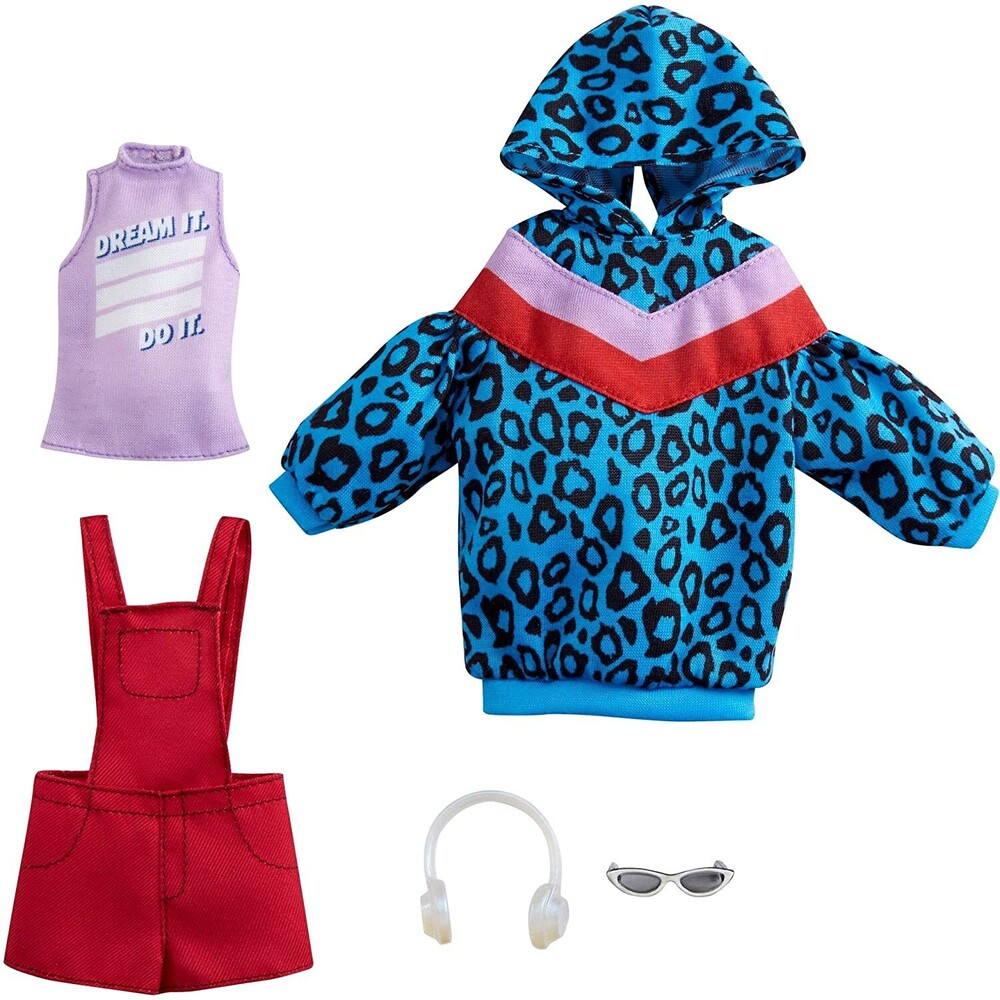 - Mattel - Barbie Fashion 2-Pack, Includes Animal-Print Hoodie Dress, Graphic Top, Red Overalls & Accessories