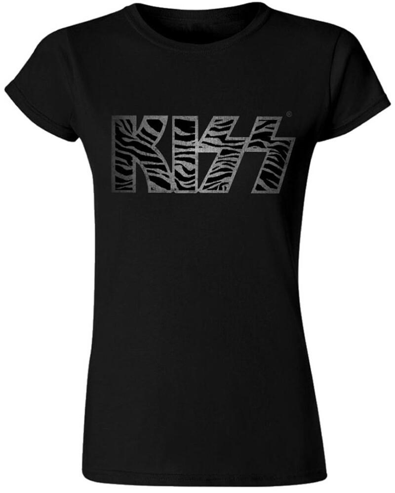 Kiss - Kiss Zebra Logo Black Ladies Junior Short Sleeve Tee Shirt XL
