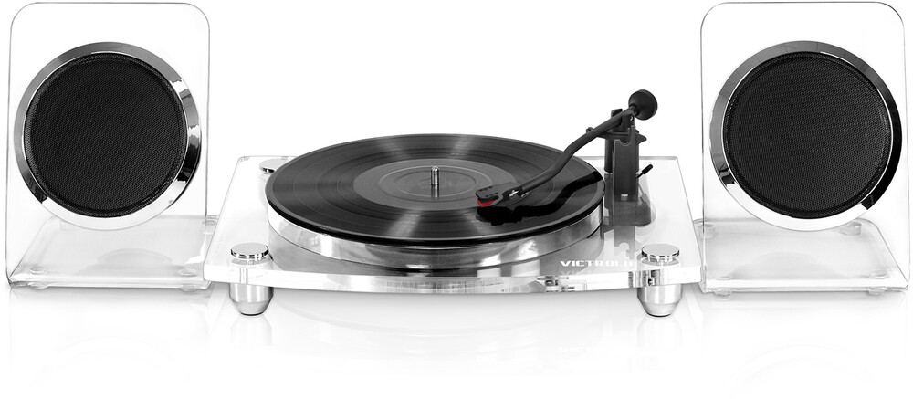 - Victrola VM-100C-CLR Modern Acrylic Turntable Bluetooth Wireless 2 Speed Belt Drive With 40 Watt Wireless Rechargable Speakers (