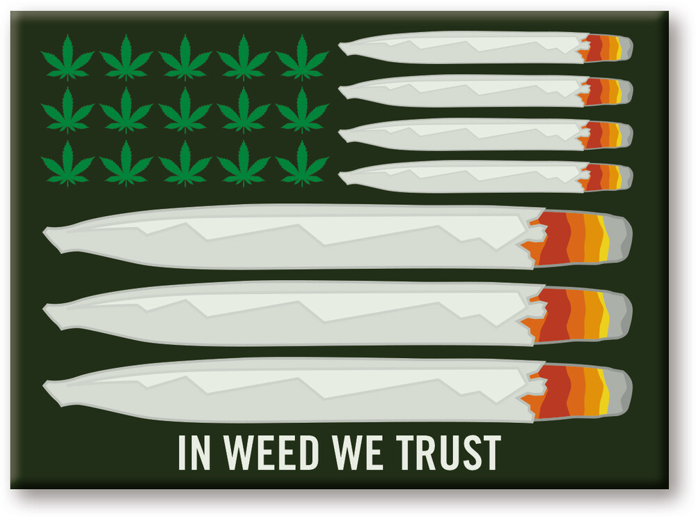 Weed in Weed We Trust 2.5 X 3.5 Flat Magnet - Weed In Weed We Trust 2.5 x 3.5 Flat Magnet