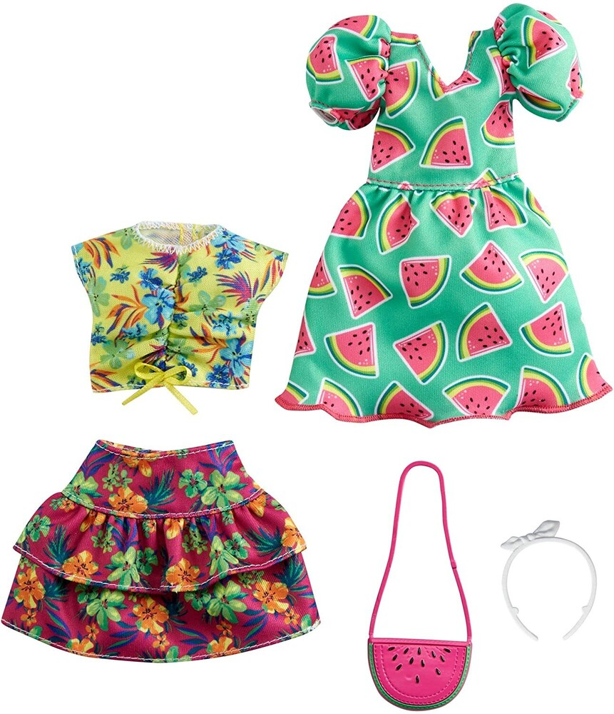- Mattel - Barbie Fashion 2-Pack, Includes Watermelon-Print Dress, Floral Skirt, Tropical Tank & Accessories