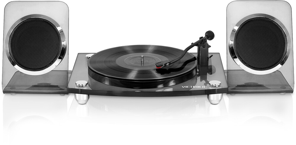 - Victrola VM-100C-BLK Modern Acrylic Turntable Bluetooth Wireless 2 Speed Belt Drive With 40 Watt Wireless Rechargable Speakers (