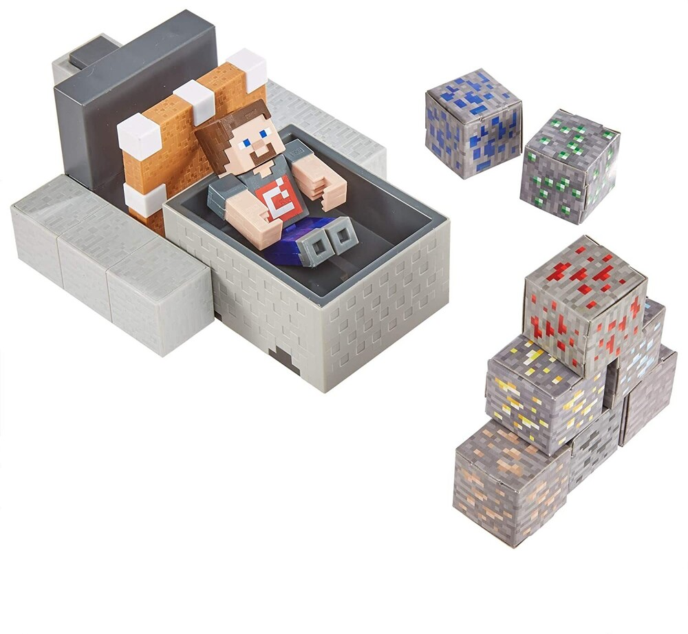 "Minecraft - Mattel Collectible - Minecraft 3.25"" Scale Minecart Mayhem"