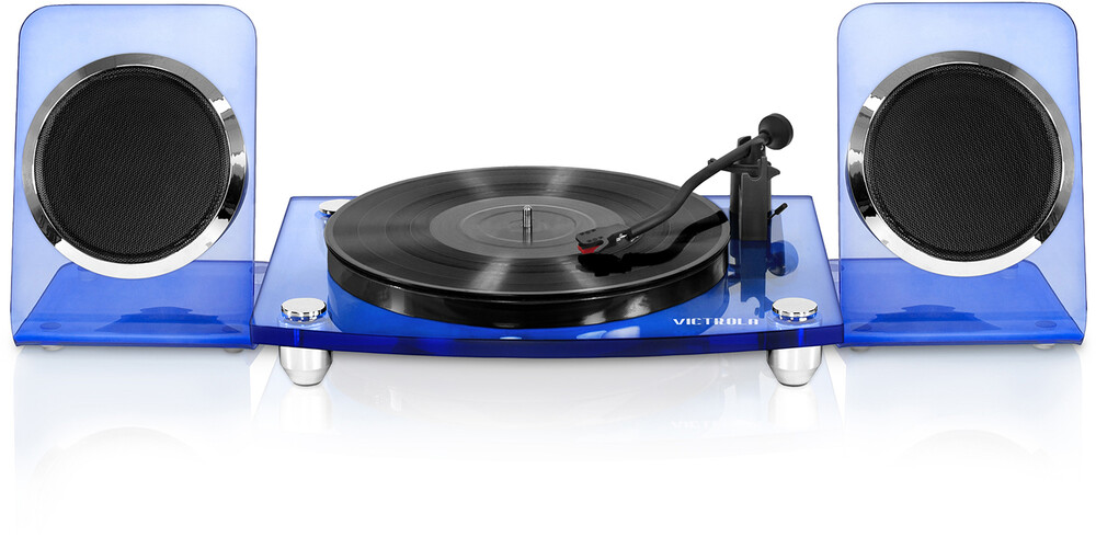 - Victrola VM-100C-BLU Modern Acrylic Turntable Bluetooth Wireless 2 Speed Belt Drive With 40 Watt Wireless Rechargable Speakers (