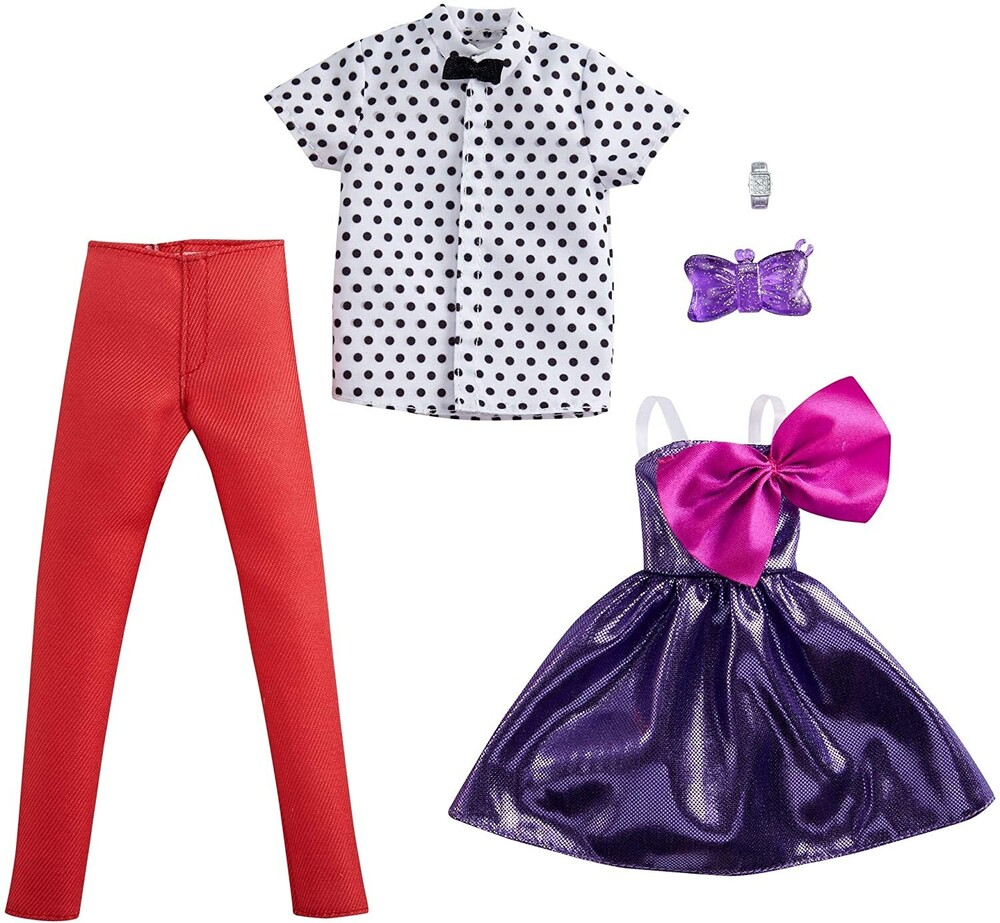 - Mattel - Barbie and Ken Fashion 2-Pack, Purple Dress with Bow and White Polka Dot Shirt with Bow Tie and Red Pants