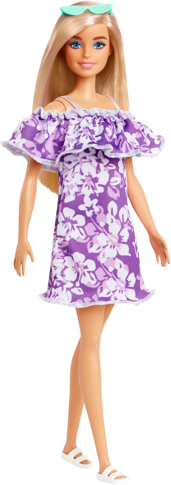 - Mattel - Barbie Loves the Ocean, Purple Floral Dress with Ruffle