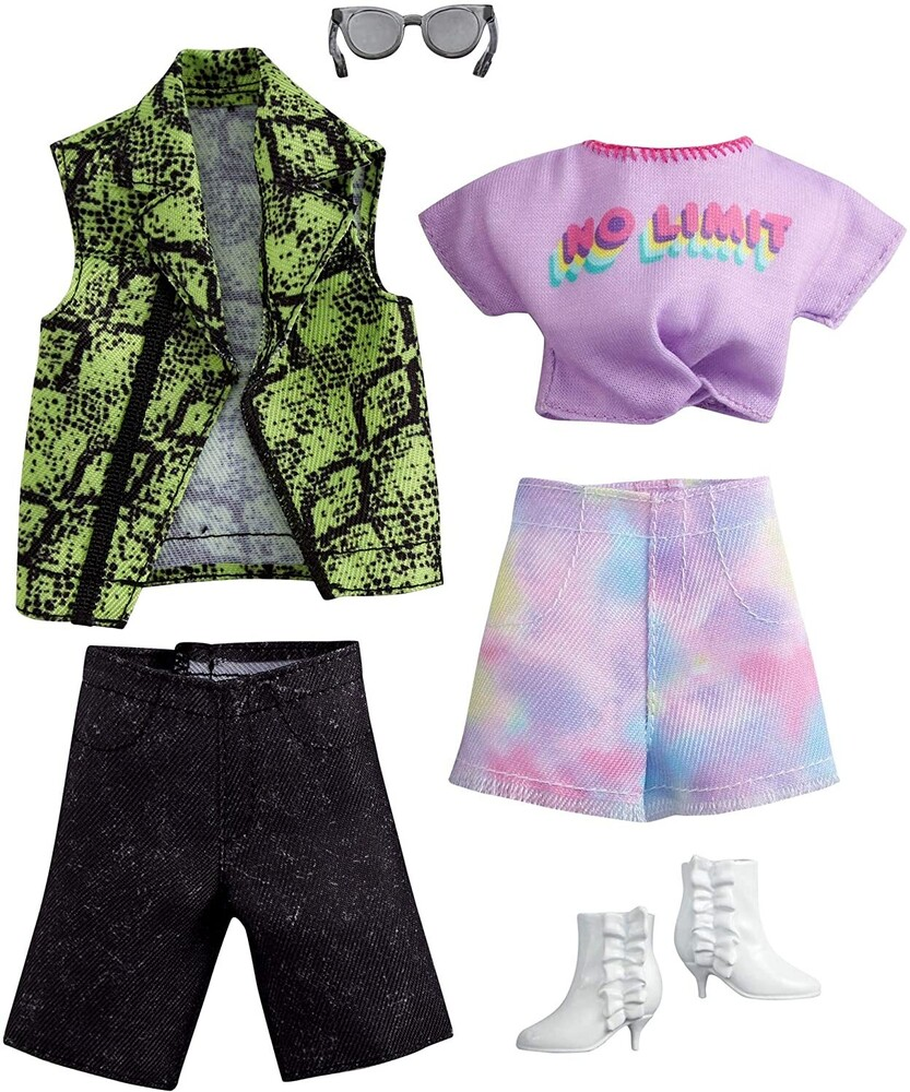 - Mattel - Barbie and Ken Fashion 2-Pack, Purple No Limit Shirt, Tie Die Shorts and Green & Black Vest and Jean Shorts