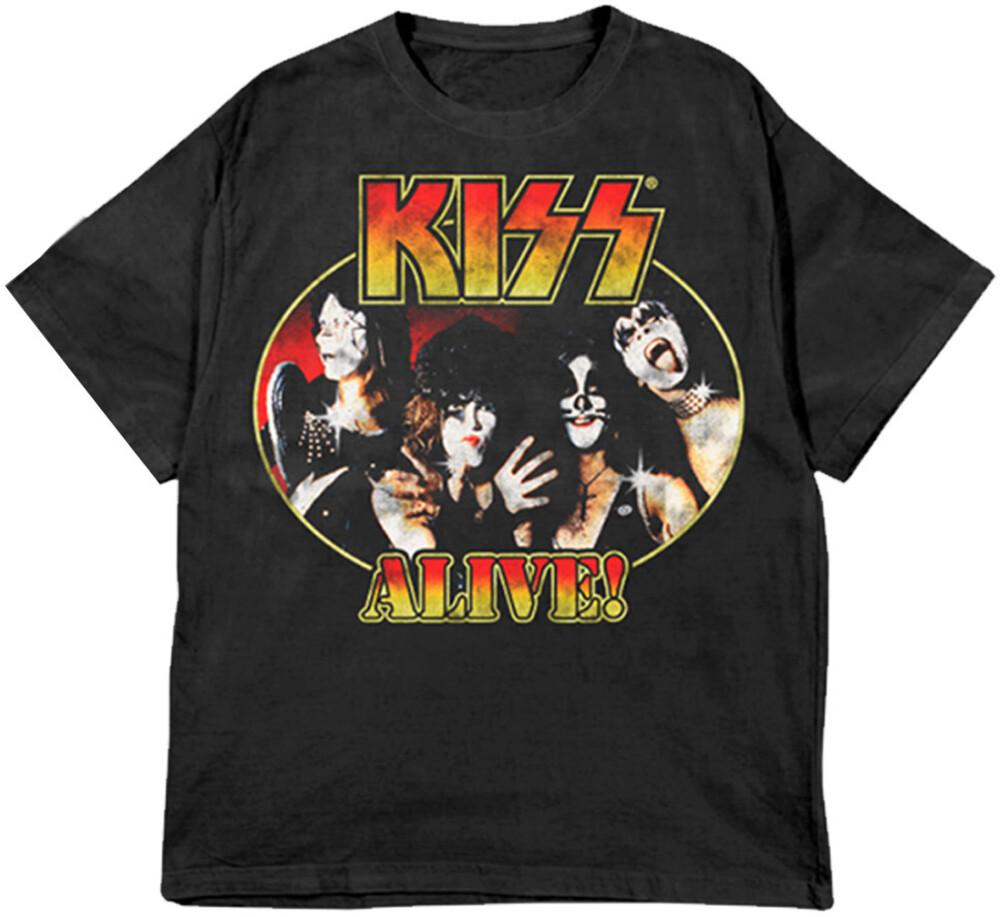 Kiss Alive! Portrait Black Ss Tee Small - KISS Alive! Portrait Black Unisex Short Sleeve T-shirt Small