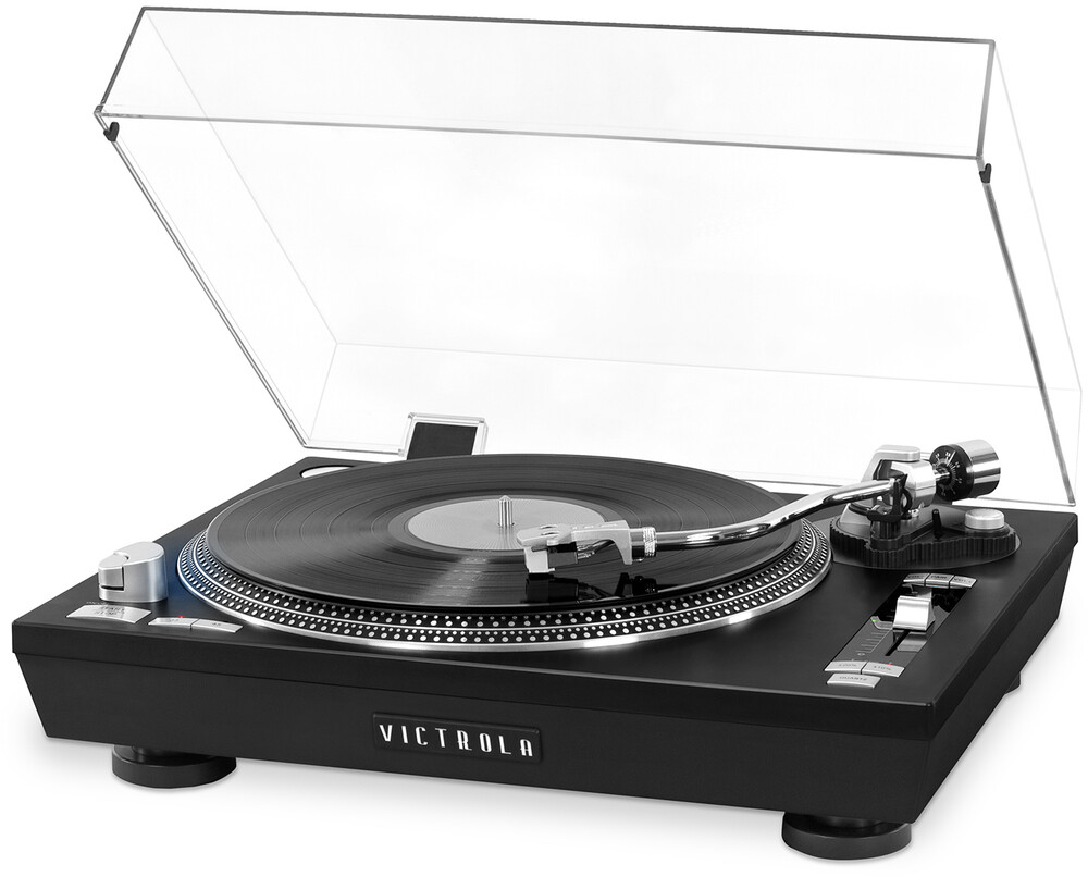 Victrola Vpro2000Blk Pro Bt Usb Turntable Black - Victrola VPRO-2000-BLK Professional Series Bluetooth Wireless USB Turntable 2 Speed Belt Drive With Dust Cover (Black)