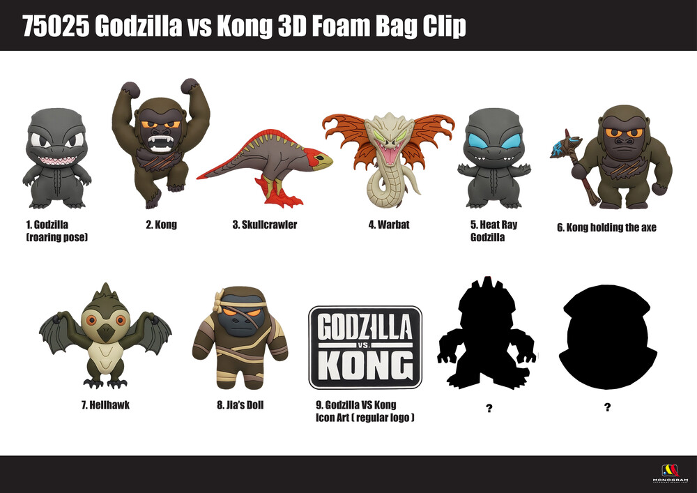 - Godzilla Vs Kong 3d Foam Bag Clips (Key)