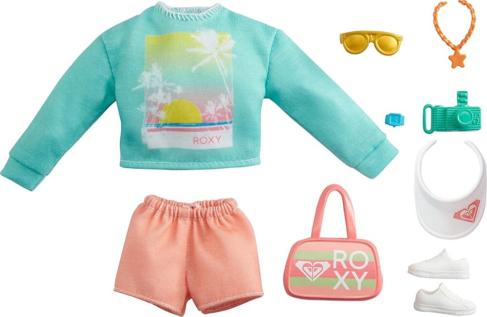 - Mattel - Barbie Storytelling Fashion Inspired by Roxy Pack, Sweatshirt with Roxy Graphic, Orange Shorts & Beach-Themed Accessori