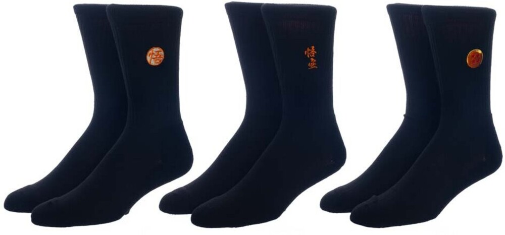 - Dragon Ball Z Embroidered 3 Pk Crew Socks 8-12