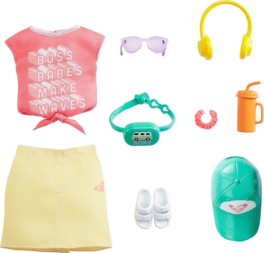 - Mattel - Barbie Storytelling Fashion Inspired by Roxy Pack, Pink Graffit Tee & Yellow Mini Skirt, Hat, Sunglasses, Sandals, and