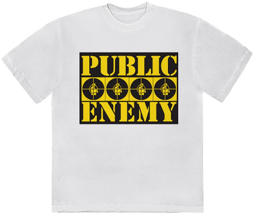 Public Enemy 4 Logos White Ss Tee Large - Public Enemy 4 Logos White Unisex Short Sleeve T-shirt Large