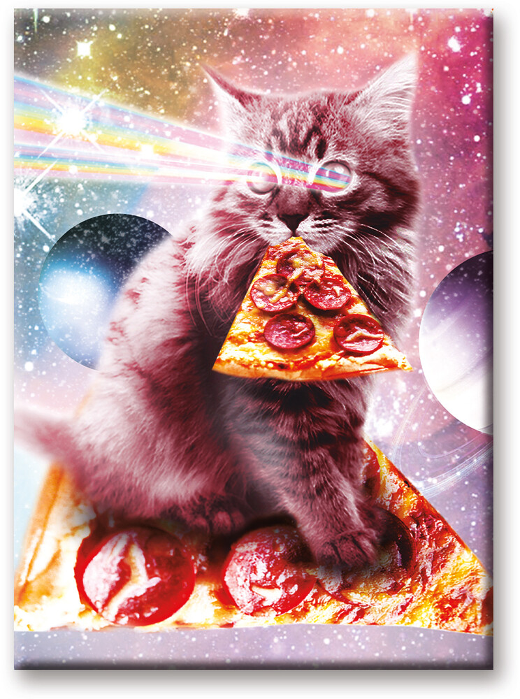 Random Galaxy Cat Pizza 2.5 X 3.5 Flat Magnet - Random Galaxy Cat Pizza 2.5 x 3.5 Flat Magnet