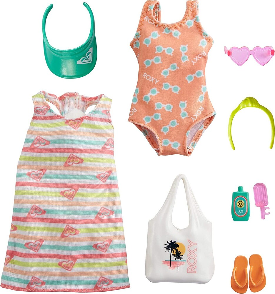 - Mattel - Barbie Storytelling Fashion Inspired by Roxy Pack, Striped Dress, Roxy Swimsuit & Beach-Themed Accessories