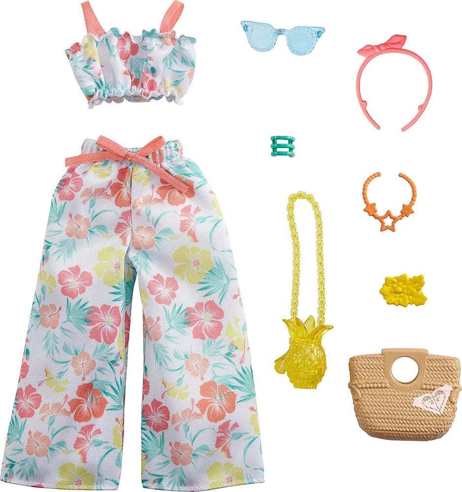 - Mattel - Barbie Storytelling Fashion Inspired by Roxy Pack, Matching Floral Top & Pants with Accessories Dolls Including Pineapp