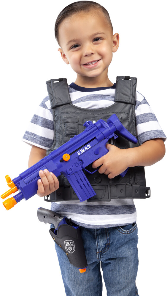 Playsets - Kid's SWAT 9-Piece Playset: With Submachine Gun, Revolver, Handcuffs and Vest