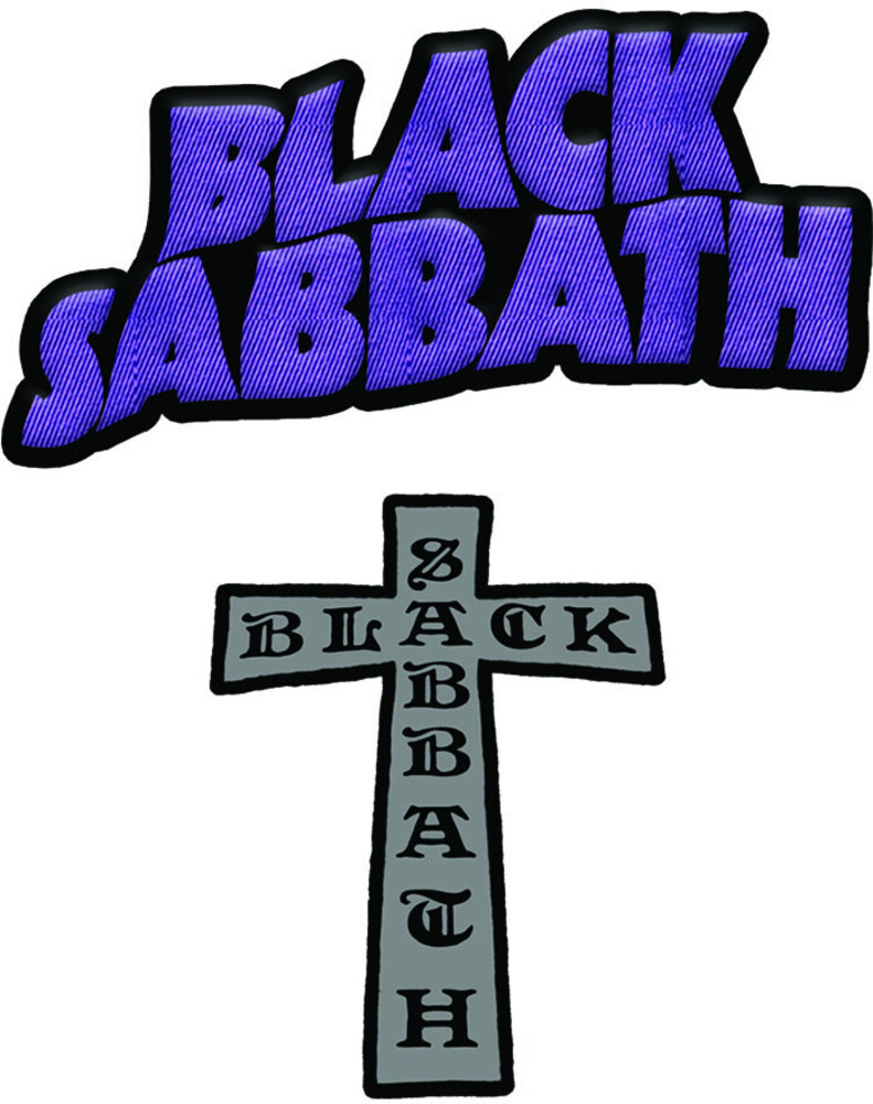 Black Sabbath Mor & Cross Logo 2 PC 2X3 Patch Set - Black Sabbath Master Of Reality Logo & Cross Logo 2 Pc Embroidered 2X3Patch Set