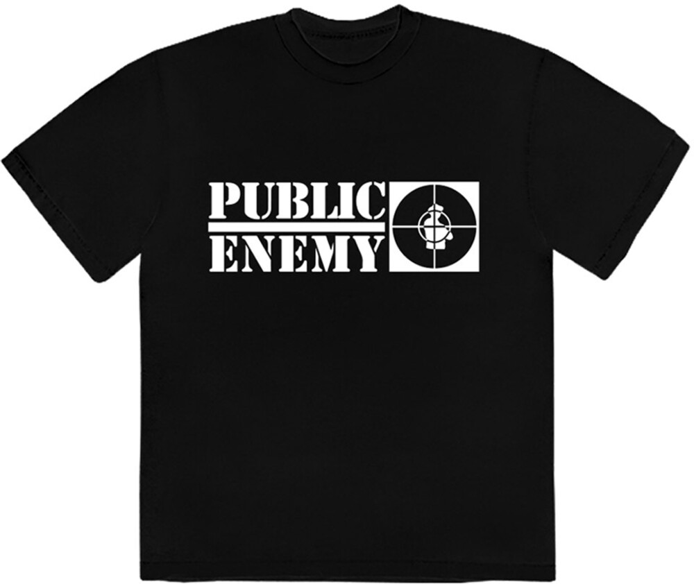 Public Enemy Long Logo Black Ss Tee Large - Public Enemy Long Logo Black Unisex Short Sleeve T-shirt Large