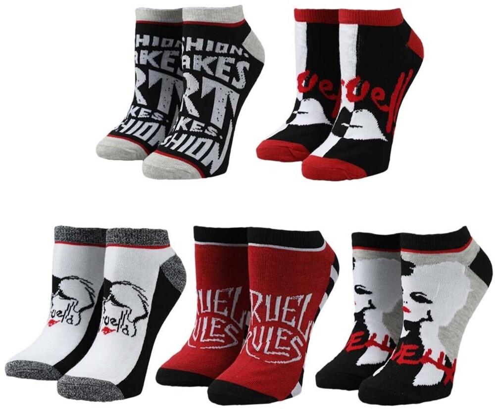 Disney Cruella 5 Pack Ankle Socks 5-10 - Disney Cruella 5 Pack Ankle Socks 5-10 (Mult)