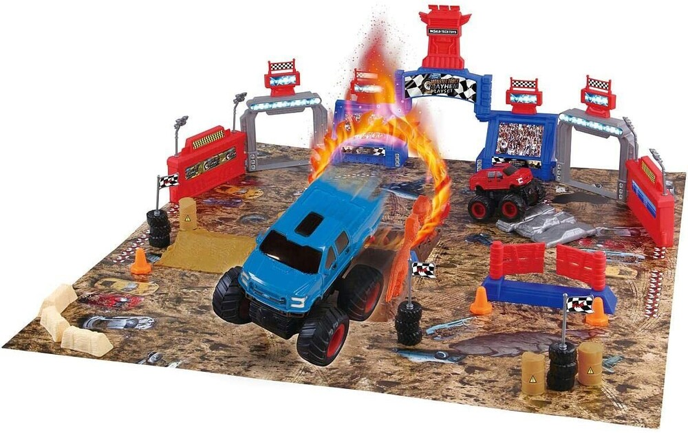 Friction Vehicles - 54-Piece Monster Truck Mayhem Friction Play Set, 2-Pack Ford