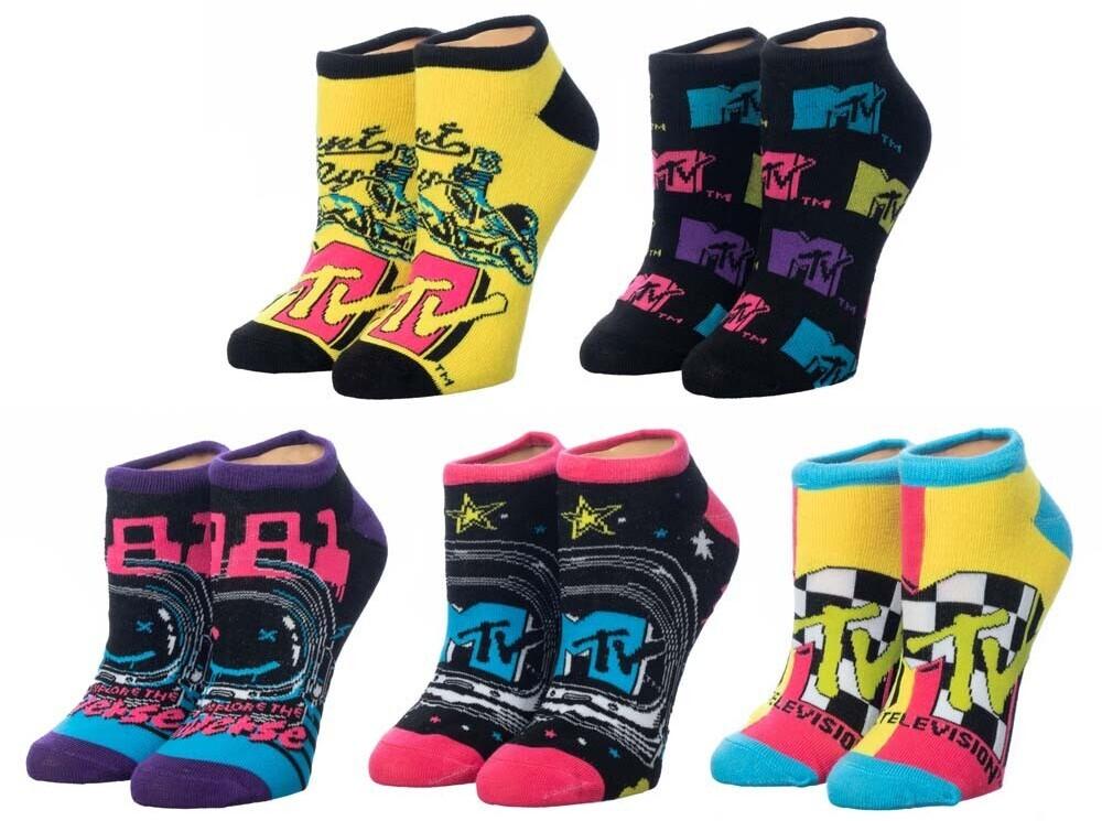 - Mtv Retro Logo 5 Pk Ankle Socks Womens 5-10 (Mult)
