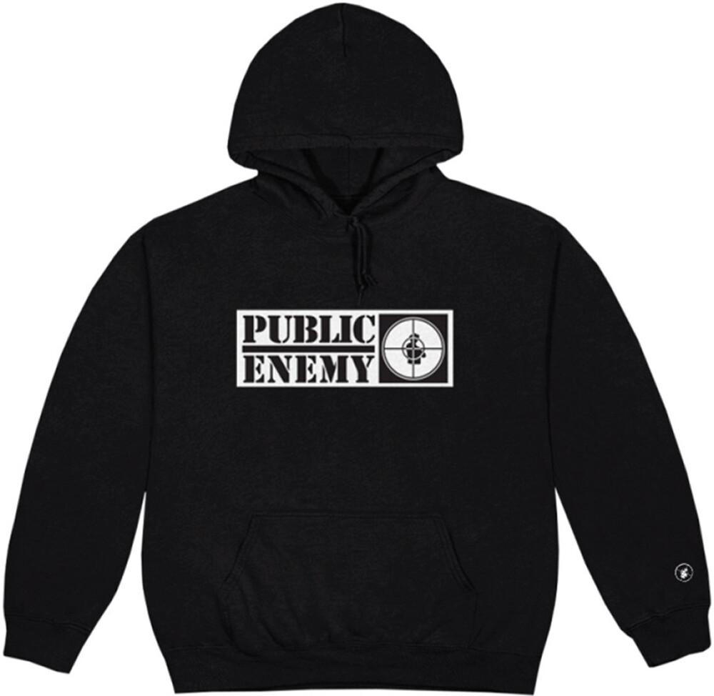 Public Enemy Long Logo Black Unisex Ls Hoodie M - Public Enemy Long Logo Black Unisex Long Sleeve Hoodie Medium
