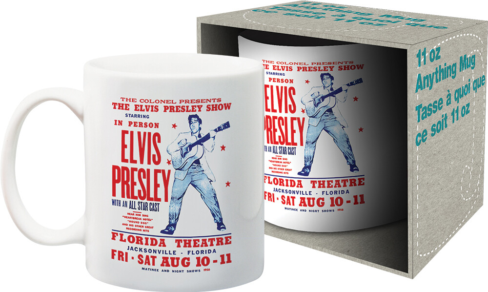 Elvis Presley in Person Florida Theatre 11Oz Mug - Elvis Presley In Person Florida Theatre 1956 Concert Poster 11oz Mug Boxed