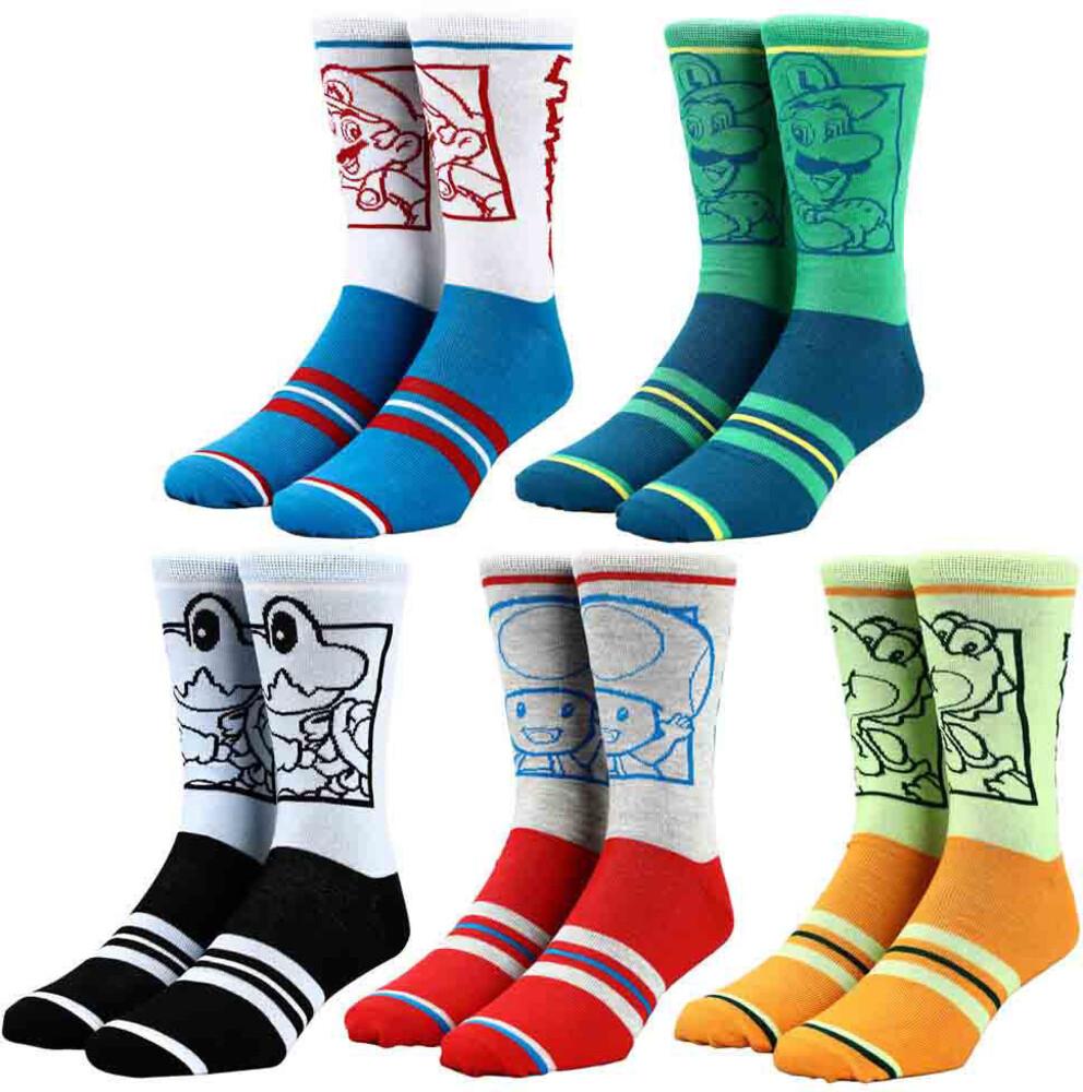 Nintendo Character 5 Pair Crew Socks 8-12 - Nintendo Character 5 Pair Crew Socks 8-12 (Mult)