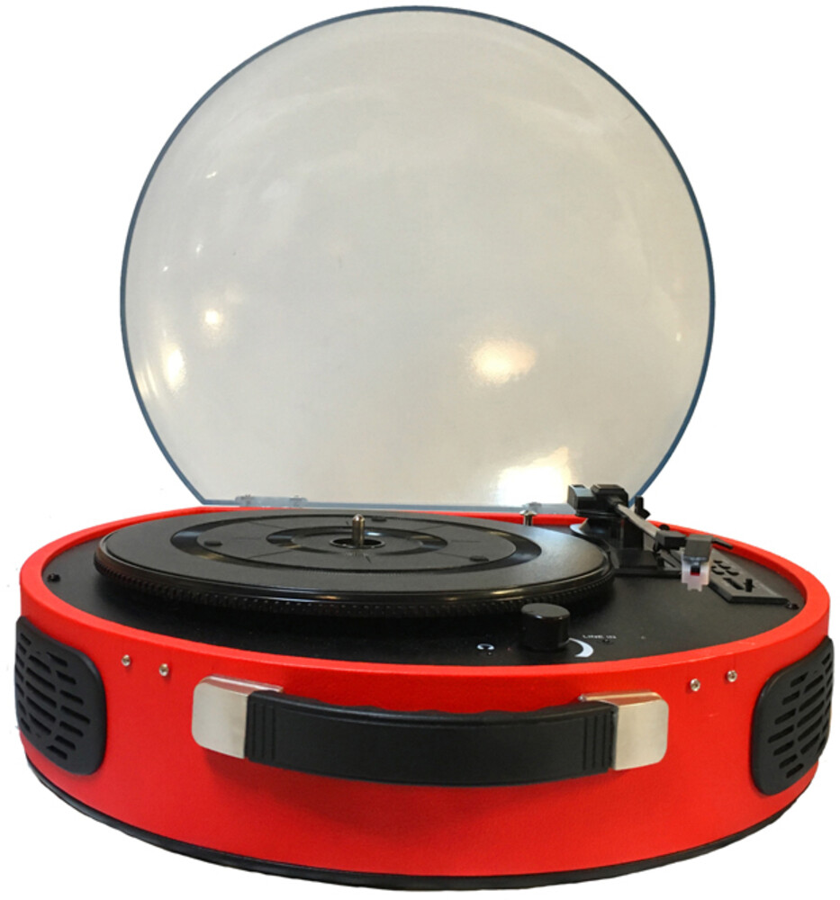 - ROKiT UFO ROKUFO-006-RED Bluetooth Wireless Rechargeable PortableBriefcase Turntable Built In Speakers (Red)